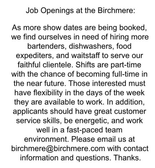 JobOpenings2Birchmere, The Birchmere